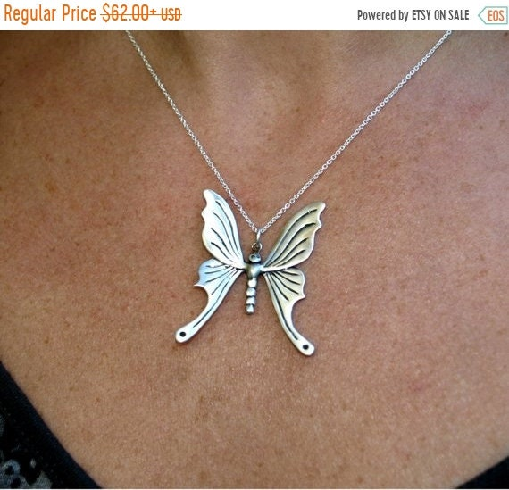 black friday sale Butterfly necklace, butterfly pendant, papillon jewelry pendant, nature jewelry, freedom reborn symbol, sterling silver Va