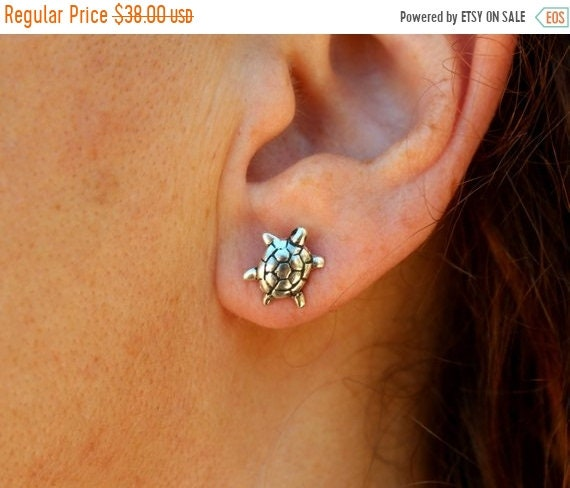 black friday sale Tiny tortoise jewelry stud earrings pair, turtle jewelry earrings, hand crafted sterling silver, summer jewelry