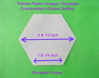 50 flexible plastic quilting hexagon templates ~ REUSABLE FOREVER ~ 2 & 1/2 inch size