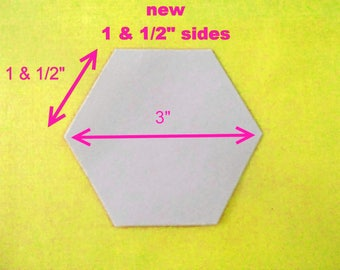 50 flexible plastic quilting hexagon templates ~ REUSABLE FOREVER ~ 3 inch size - 1 &1/2 inch sides