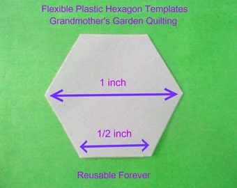 250 flexible plastic quilting hexagon templates ~ REUSABLE FOREVER ~ 1 inch size