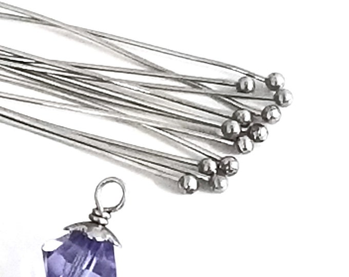 Long Ballpins, Stainless Steel, 50 Pieces (approx), 70mm, 2 3/4 inch, 0.6mm, 23 gauge, Lot Size 50 (Approx), #1307