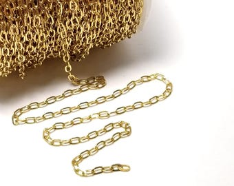 Cross Chain, Gold Stainless Steel, 4.5x2.5mm, Soldered Closed Links, Hypoallergenic, Non Tarnish, Lot Size 5 to 20 feet, #1926 G