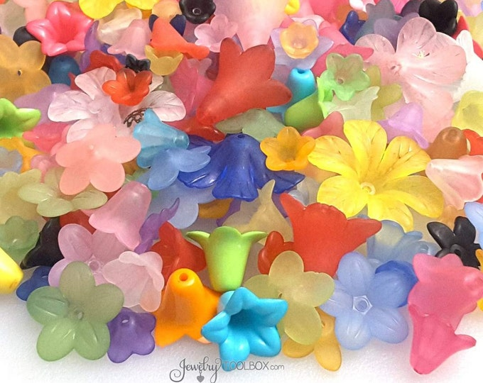 Assorted Flower Beads, Acrylic Bead Collection, 100 grams, Assorted Sizes, Color Mix, Transparent Beads, Frosted Beads, Opaque Beads, 1001