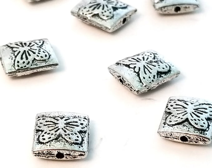 Rectangle Butterfly Beads, Antique Silver Pewter, Double Sided, 10x9mm, 1mm Hole, Lot Size 12 to 30 Beads, #1373