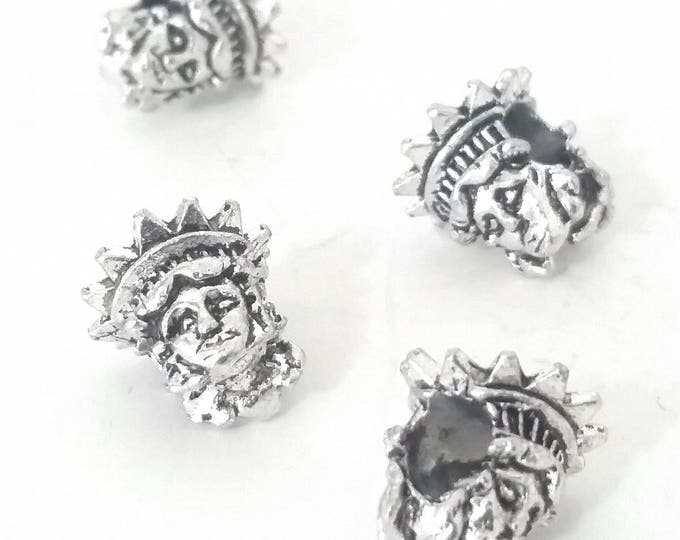 Statue of Liberty Beads, Extra Large Hole, Antique Silver Metal, 12x12.5x12mm, 5mm Hole, Lead Free, Nickel Free, Lot Size 10 to 30, #1565 BH