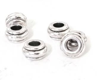 Rondelle Beads, Antique Silver Metal, 10x5.5mm, 4.5mm Hole, Lead Free, Nickel Free, Lot Size 14 to 35, #1569 BH