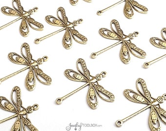 Large Gold FILIGREE Dragonfly Jewelry Connectors, Dragonfly Pendant Charms, Insect Gold Findings, 2 LOOPS, 24x24mm, Lot Size 4+, #09G