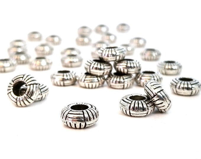 Big Hole Pewter Rondelle Beads, Antique Silver, Approx 11x5mm, 5mm Large Hole, Carved Hatch Design, Lead Free, Lot Size 10 to 30, #1379 BH