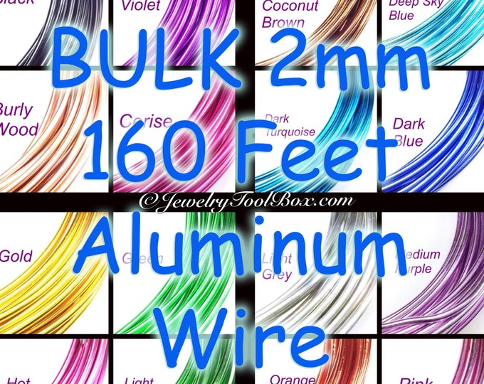Bulk Aluminum Wire, 160 Feet, 2mm Round, 12 Gauge, Choose from 16 Colors, Very Dead Soft Temper