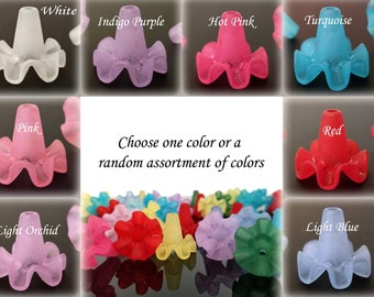 Ruffled Flower Beads, Assorted Color Collection, Long Acrylic Flower Bead Cap, 19x21mm, 3mm hole, Lot Size 10 Beads, #900