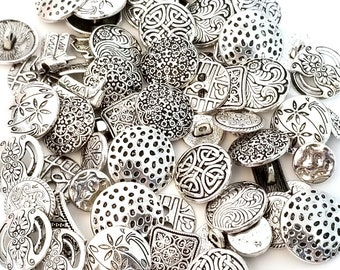 Button Collection, Antique Silver Pewter Assortment Shank Buttons, 2 Hole Buttons, 100 Grams (approx 65 Buttons)