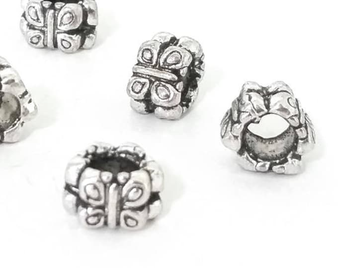 Butterfly Beads, Extra Large Hole Antique Silver Metal, 9.5x6mm, 4.5mm Hole, Lead Free, Nickel Free, Lot Size 12 to 40, #1560 BH