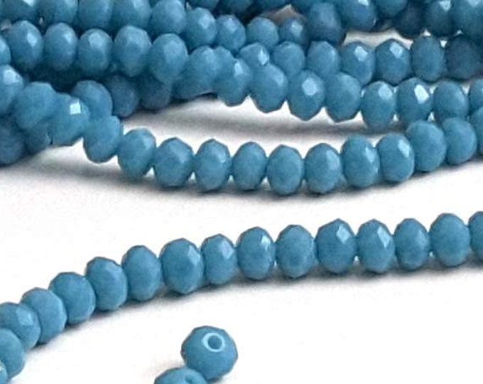 BLUE TURQUOISE Beads, Crystal Rondelles, Opaque Turquoise Faceted Glass Abacus Beads, 4x3mm, Hole 1mm, Lot Size 80 Beads, #0403 bt