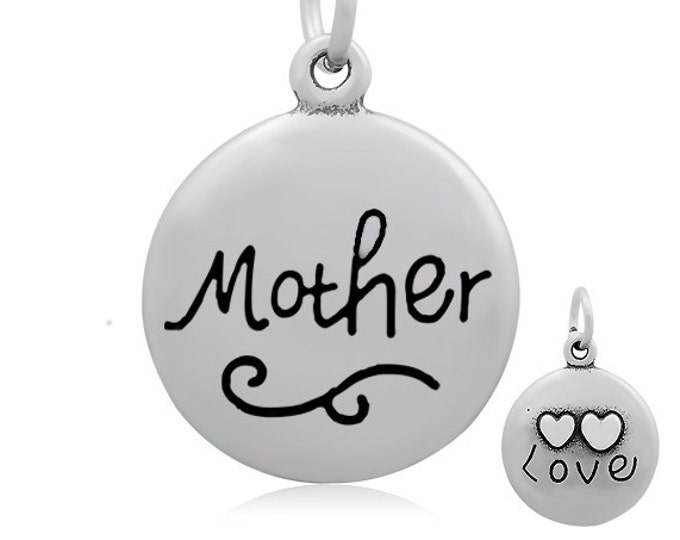 Mother Pendant, Gift for Mom, Mother's Day Gift, 316 Stainless Steel, 18mm, 2mm Hole, 7x1mm Bail, Lot Size 1 to 5, #1852