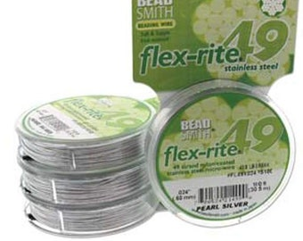 """Pearl SILVER Beading Wire, Thick Stringing Wire, Jewelry Beading Cord, Flex-Rite, 49 Strand Wire, .024"""" thick (.60mm), 30 Feet, #24PS30"""
