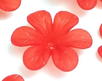 Red Flower Beads, Large Daisy Flower Beads, 33x8mm Acrylic Flower Beads, Crimson Red Transparent Frosted Bead, Lot Size 12 to 50, #1204