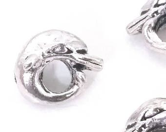 Dolphin Beads, Extra Large Hole, Antique Silver Metal, 12x15x9mm, 5mm Hole, Lead Free, Nickel Free, Lot Size 30, #1580 BH