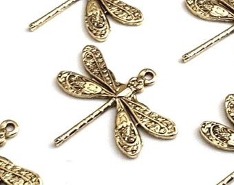Gold Dragonfly Charms, SMALL Dragonfly Pendants, Gold Jewelry Components, Jewelry Making Supplies, 1 LOOP, 16x17mm, Lot Size 4+, #01G