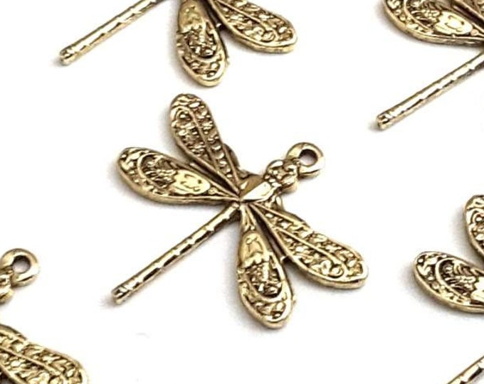 Gold Dragonfly Charms, SMALL Dragonfly Pendants, Gold Jewelry Components, Jewelry Making Supplies, 1 LOOP, 16x17mm, Lot Size 6 to 20, #01G