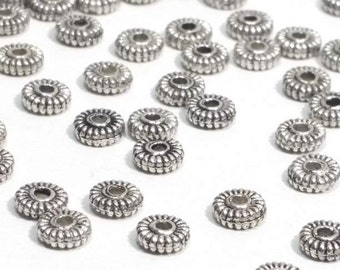 Silver Metal Rondelle Beads, Antique Silver Pewter Beads, Spacer Beads, 5mm, 1.5mm Hole (approx), Lead Free, Lot Size 25 to 100, #1093