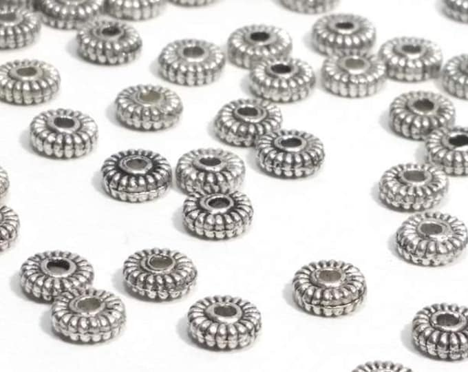 Silver Metal Rondelle Beads, 100 Pieces Antique Silver Pewter Beads, Spacer Beads, 5mm, 1.5mm Hole (approx), Lead Free, #1093