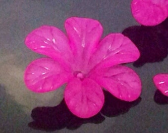 Magenta Flower Beads, Large Daisy Flower Beads, 33x8mm Acrylic Flower Beads, Dark Pink Transparent Frosted Bead, Lot Size 12 to 50, #1202