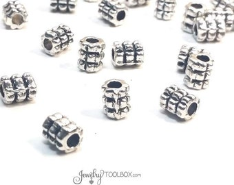 Textured Barrell Beads, Antique Silver Metal Beads, Pewter Metal Beads,  6x6mm, 2.5mm Big Hole Beads, Lead Free, Lot Size 12 or 50, #1315 BH