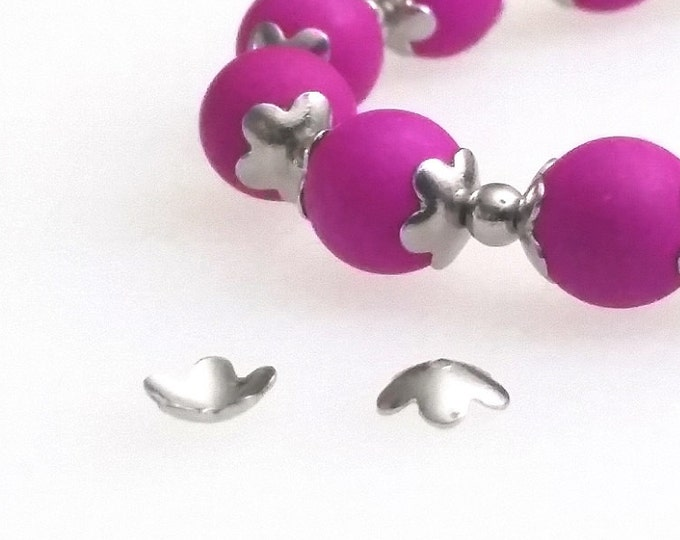 Flower Bead Cap, 50 pcs, 5 Petals, Stainless Steel, Fits 8mm Round and larger beads, 6x2mm, 0.7mm Hole, Non Tarnish, #1318