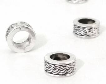 Large Hole Barrel Beads, Woven Design, Antique Silver Metal, 8x4mm, 5mm Hole, Lead Free, Nickel Free, Lot Size 8 to 30, #1572 BH