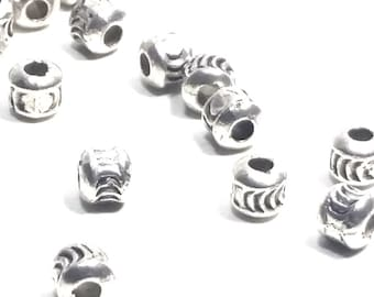 Barrel Spacer Beads, Metal Beads, Antique Silver Pewter, 4x4mm, 1mm Hole, Lot Size 25 to 100, #1056