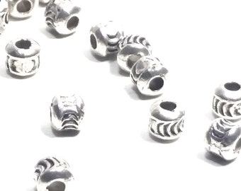 Barrel Spacer Beads, Metal Beads, Antique Silver Pewter, 4x4mm, 1mm Hole, Lot Size 50 to 100, #1056