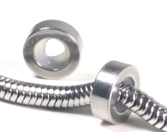 Stopper Bead, Stainless Steel Snake Chain Findings, *PLEASE READ Description* 8.5x3mm, Fits 3mm to 4.3mm Chain, Lot Size 1 to 5, #1880