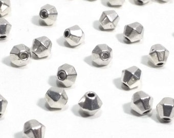 Metal Bicone Beads, Spacer Beads, Bulk Beads, Antique Silver Pewter Metal Beads, 4mm, 1mm Hole (approx), Lead Free, Lots of 25 to 100, #1021