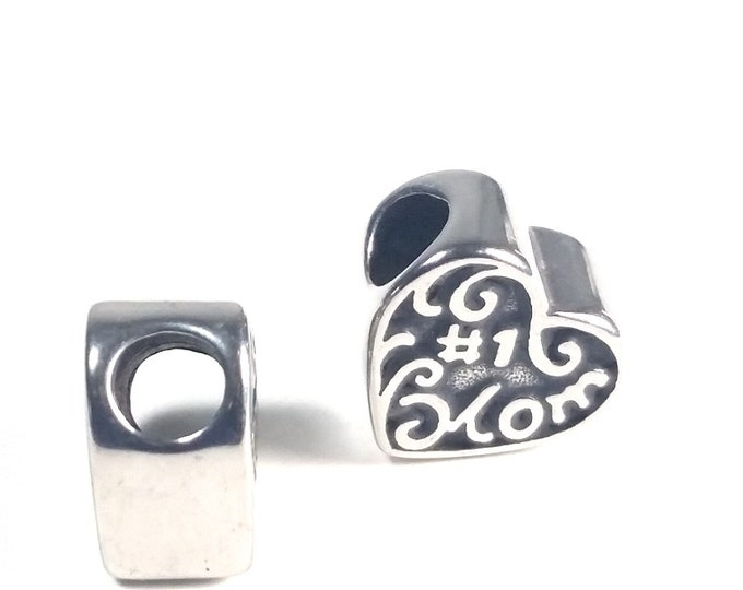 Mom Heart Bead, Large Hole Stainless Steel Beads, 12x12.5x7mm, 4.5mm Hole, Lot Size 1 to 5, #1848