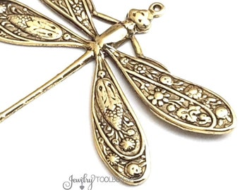 Extra Large Gold Dragonfly Pendants, Dragonfly Charms, Brass Jewelry Components, Jewelry Supplies, 1 LOOP, 42x50mm, 1 to 5, #07G