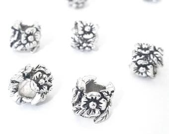 Carved Flower Beads,  Floral Beads, Antique Silver Metal,  10x11mm, 5mm Hole, Lead Free, Nickel Free, Lot Size 8 to 30, #1574 BH