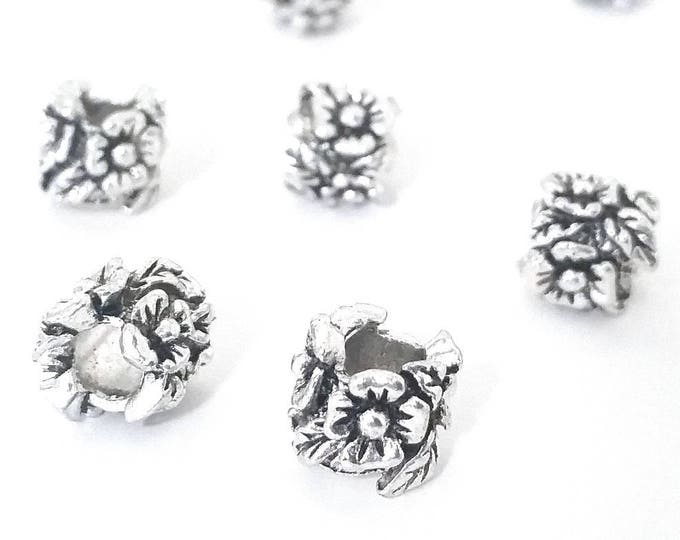 Carved Flower Beads,  Floral Beads, Antique Silver Metal,  10x11mm, 5mm Hole, Lead Free, Nickel Free, Lot Size 10 to 30, #1574 BH