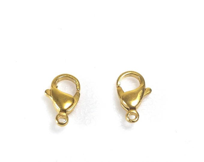 Gold Stainless Lobster Clasps, 13mm, Gold Color Stainless Steel Jewelry Making Supplies, Lot Size 5 to 20, #1333 G