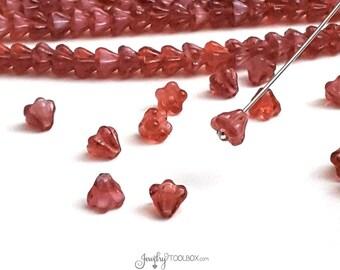 Pearl Fuchsia Baby Bell Beads, Milky White Pink Czech Glass Baby Bellflower Bead Cap, Czech Glass Beads, 4x6mm, Lot Size 50, #4022