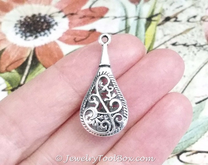Teardrop Filigree Earring Charm, Antique Silver Pewter, 30x14mm, Lot Size 4 to 30, #1284