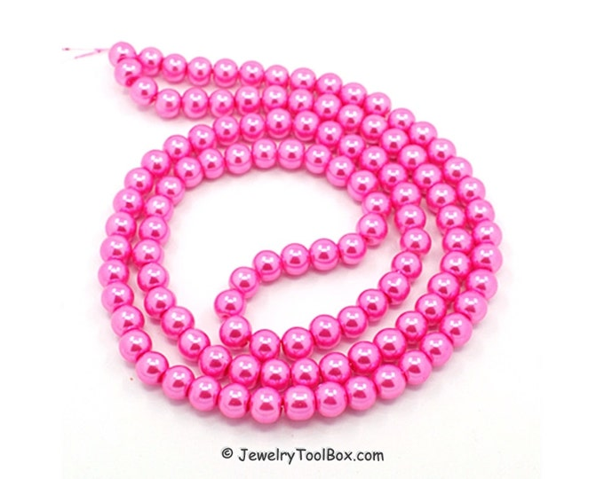 Hot Pink Pearls, Glass Bead Strands, Pearlized Round Glass, 36 inch Strand, Choose 4mm, 6mm, 8mm, Hole 1mm