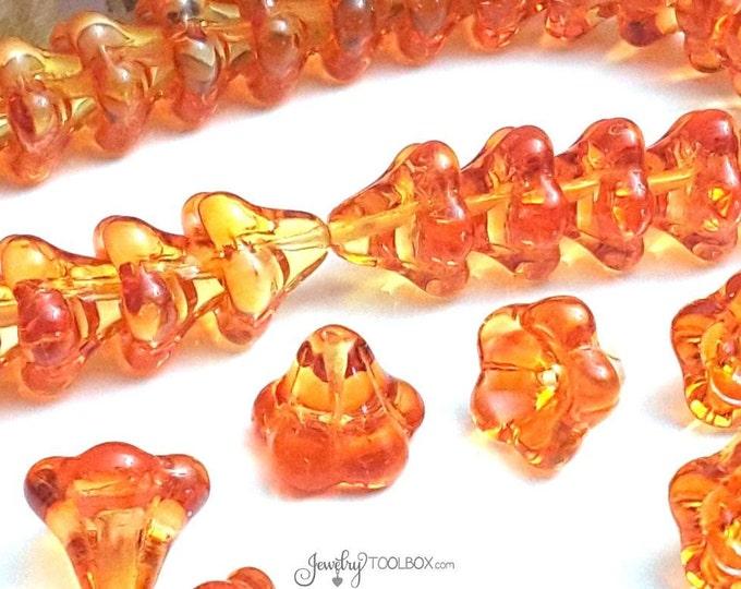 Fire Opal Bell Flower Beads, Czech Glass Beads, Large Bell Flower Bead Cap, 11x13mm Bell Flower Beads Yellow Orange Beads, Lot Size 10, #302