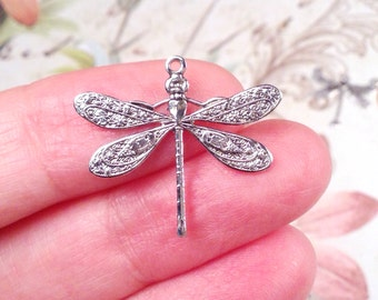 Dragonfly Charms, Pendant, 21x24mm, 1 Loop, Antique Sterling Silver, Large, Made in the USA, Lead Free, Nickel Free, Lot Size 4 to 24, #04S