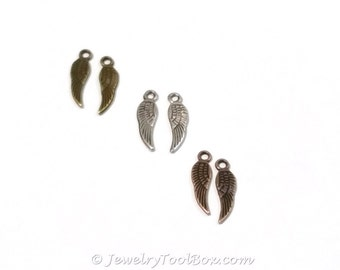 Tiny Angel Wing Charms, Choose Antique Silver, Copper, or Bronze, Double Sided, Lead Free, Nickel Free, Lot Size 50 to 100, 17x5mm, #2015
