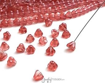 Satin Sherbet Bell Flower Beads, Satin Sherbet Czech Glass Bead Cap, Bellflower Beads, 4x6mm Flower, Lot Size 50 Beads, #4002