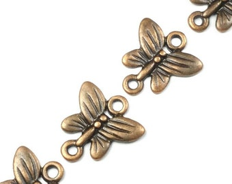 Butterfly Connectors, Antique Copper Charms, Pendants, Lead Free, Nickel Free, 13x14x2mm, Lot Size 10 to 50, #0904