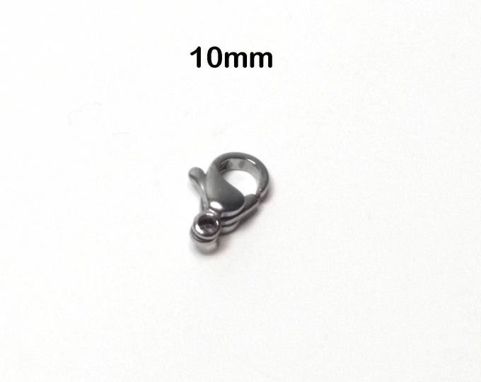 Lobster Clasp, Stainless Steel, 10mm x6x3, Necklace, Bracelet Making Supplies, Hypoallergenic, Lot Size 5 to 25, #1330