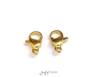 Gold Stainless Lobster Clasps, 10mm, Gold Color Stainless Steel Jewelry Making Supplies, Lot Size 5 to 20, #1330 G