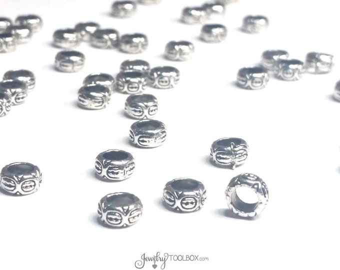 Carved Design Beads, Rondelle Shape, Antique Silver Pewter Extra Large Hole Beads, Metal Beads, 4x7mm, 4mm Hole, Lot Size 12 to 50, #1349 BH